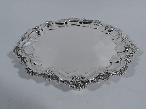 Fancy Georgian Revival Sterling Silver Salver Tray