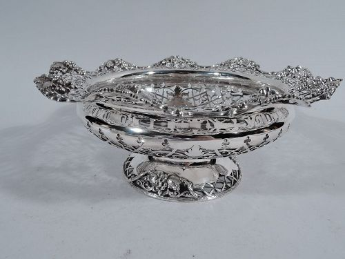 Antique English Edwardian Pierced Sterling Silver Footed Grape Bowl