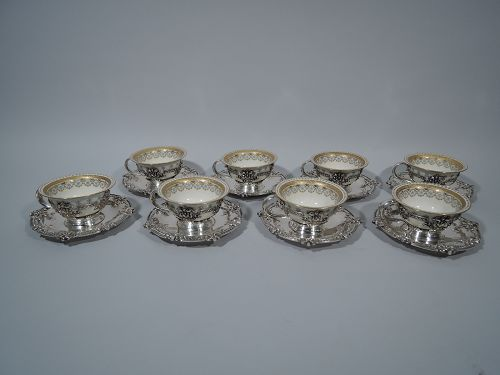 Set of 10 Antique Tiffany Coffee Holders & Saucers with Lenox Liners