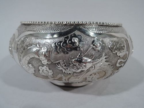 Antique Chinese Silver Bowl with Dragons