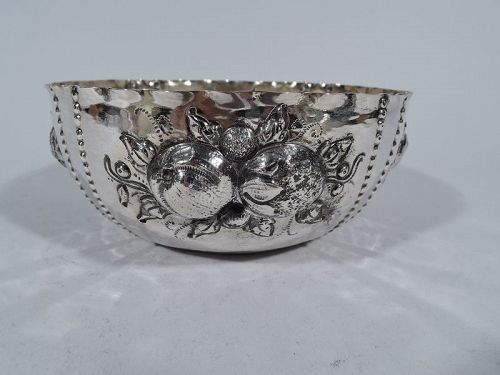 Antique Swedish Silver Naïve Bowl with Fruits by CG Hallberg