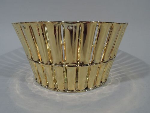 Tiffany Silver Gilt Basket in Desirable Bamboo Pattern
