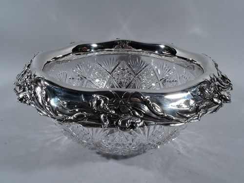 Art Nouveau Brilliant-Cut Glass & Sterling Silver Centerpiece Bowl