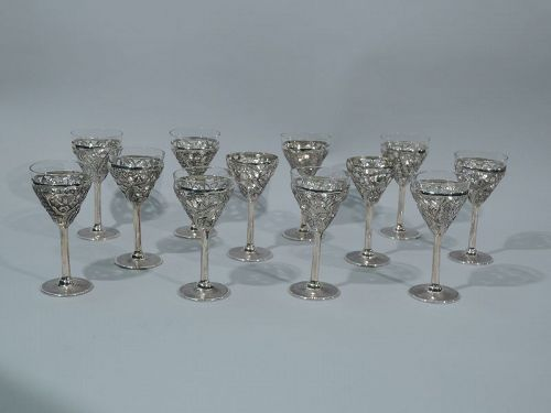 Set of 10 Chinese Export Silver Exotic Cocktail Cups