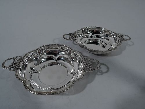 Pair of Pretty Antique English Sterling Silver Quatrefoil Bowls