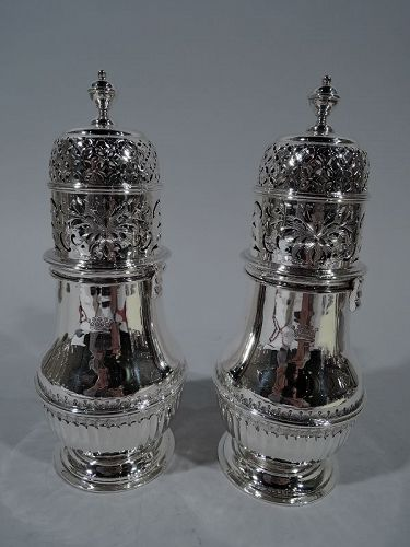 Pair of English Edwardian Large Sterling Silver Sugar Shakers
