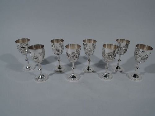 Set of 8 Chinese Silver Firewater Dragon Cordials