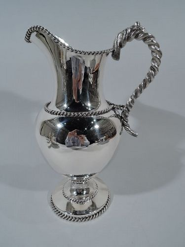 Antique New York Nautical Coin Silver Water Pitcher