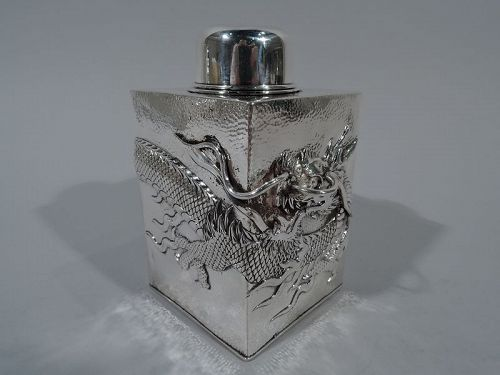 Chinese Export Silver Dragon Tea Caddy