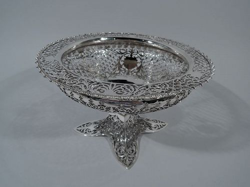 Finely Pierced Sterling Silver Footed Bowl by Renowned James Dixon