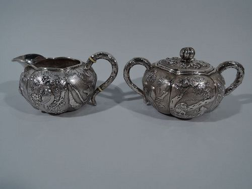 Antique Chinese Silver Creamer & Sugar with Birds and Bamboo