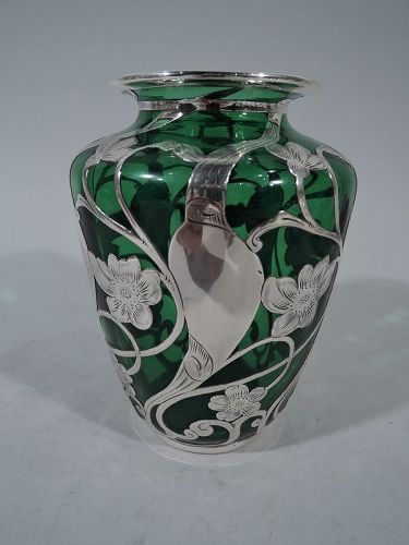 American Art Nouveau Emerald Glass Vase with Silver Overlay