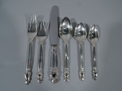 72 Pieces - Georg Jensen Acorn Sterling Silver Dinner Service for 12
