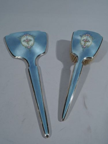 Antique American Sterling Silver & Enamel Vanity Set by Thomae