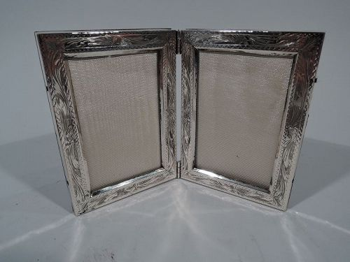 Italian Silver Double Diptych Picture Frame
