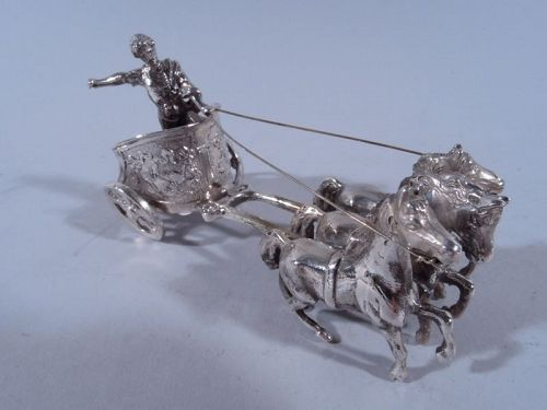 Antique German Silver Miniature Roman Chariot