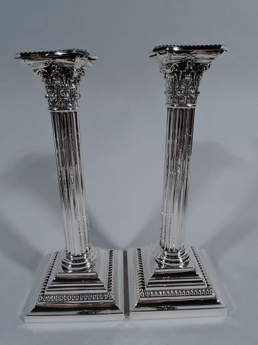 Pair of Gorham American Sterling Silver Classical Column Candlesticks