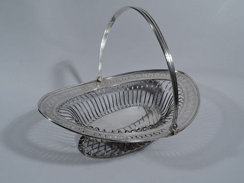 Antique English Neoclassical Sterling Silver Basket 1791