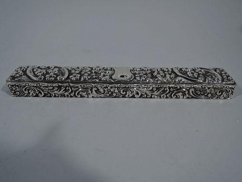 Antique English Edwardian Repousse Sterling Silver Desk Box