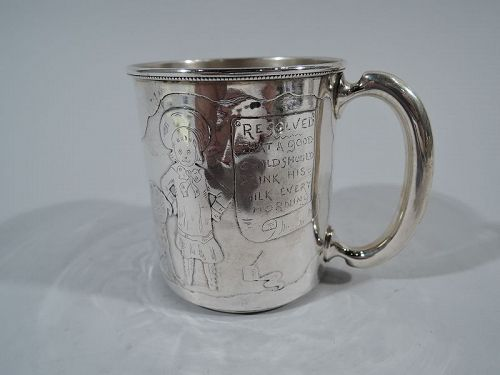 International Sterling Silver Baby Cup with Pro-Milk Message