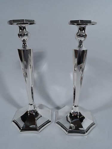 A Great Pair of Tall and Modern Sterling Silver Candlesticks