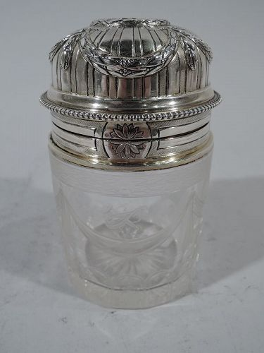 Antique French Rococo Silver & Glass Perfume