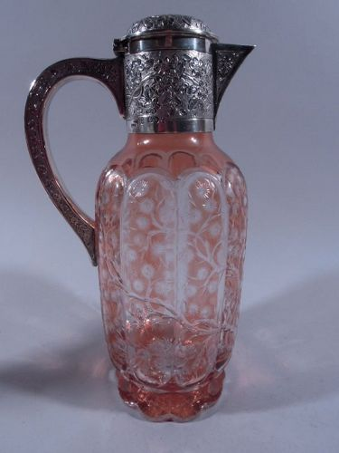 Very Fine Antique English Sterling Silver & Colored Crystal Decanter