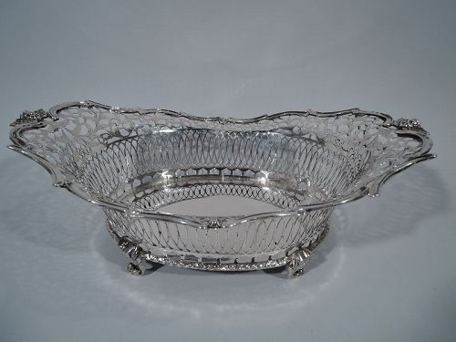 Antique Dutch Edwardian Silver Centerpiece Basket