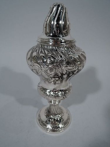 Pretty Antique German Rococo Silver Sugar Shaker