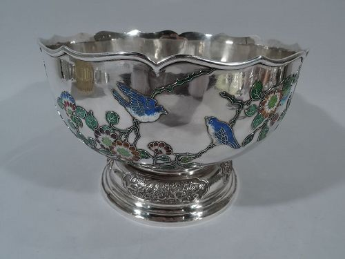 Very Fine Chinese Silver & Enamel Centerpiece Bowl by Wang Hing