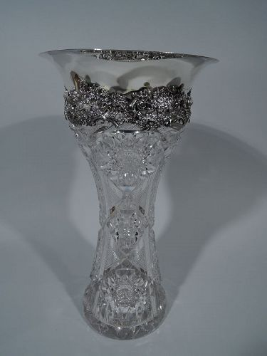 Large Antique Brilliant-Cut Glass & Sterling Silver Vase by Redlich