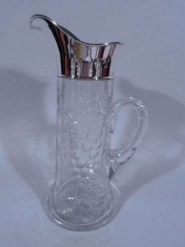 Antique Glass & Sterling Silver Claret Jug by Shreve & Co.