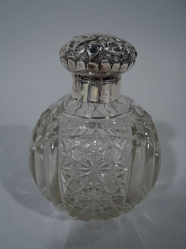 Antique English Edwardian Sterling Silver & Glass Perfume