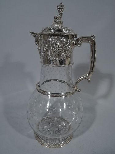 Very Large Antique English Sterling Silver & Crystal Decanter