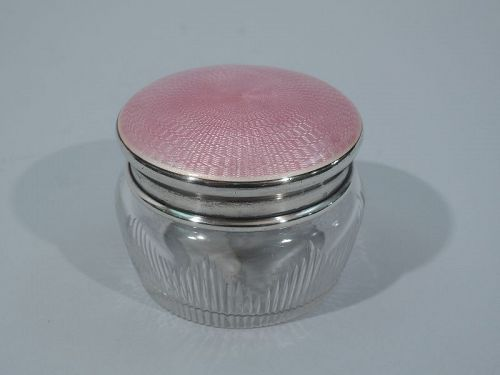 Antique American Sterling Silver & Pink Enamel Rouge Pot