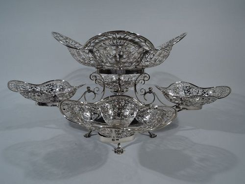 Antique English Edwardian Sterling Silver Epergne