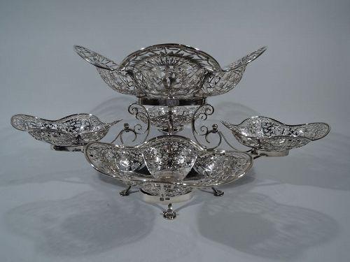 Antique English Edwardian Sterling Silver Epergne