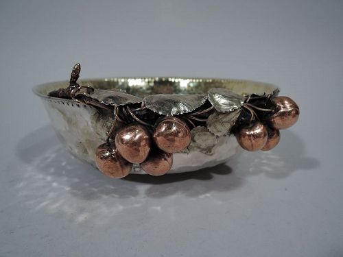 Gorham Sterling Silver & Mixed Metal Bowl with Cherries and Dog 1882