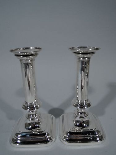 Pair of Gorham Sterling Silver Modern Column Candlesticks 1912