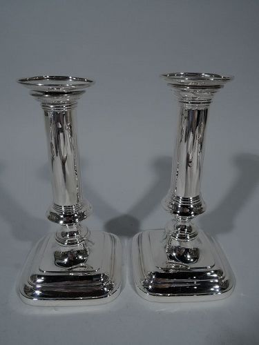 Pair of Gorham Sterling Silver Modern Column Candlesticks 1906
