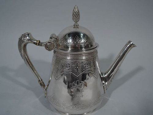 Antique Gorham Aesthetic Coin Silver Teapot with Medallions