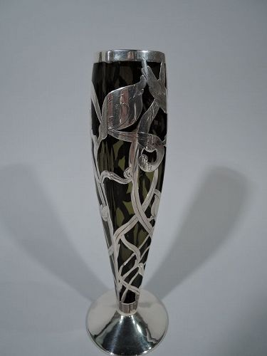 American Art Nouveau Green Glass Vase with Floral Silver Overlay