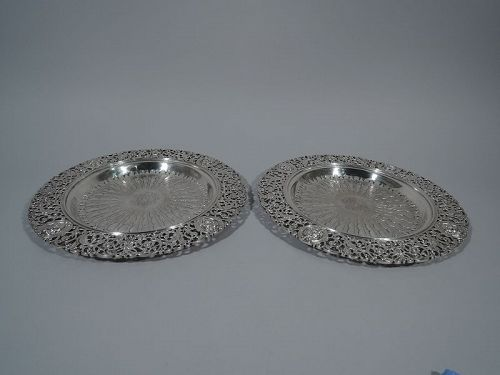 Pair of Renaissance Revival Sterling Silver Trays by Howard 1894