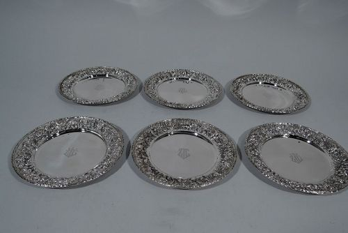 Set of 6 Kirk Repousse Sterling Silver Bread & Butter Plates