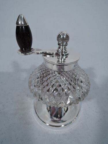 Antique English Sterling Silver & Cut Glass Pepper Grinder 1926