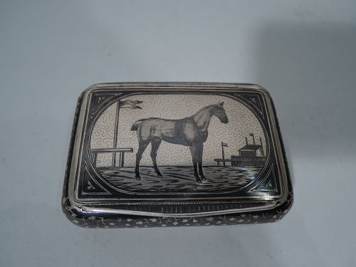 Antique Austrian Silver and Niello Snuffbox with Racehorse