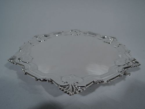 English Edwardian Georgian Sterling Silver Salver Tray