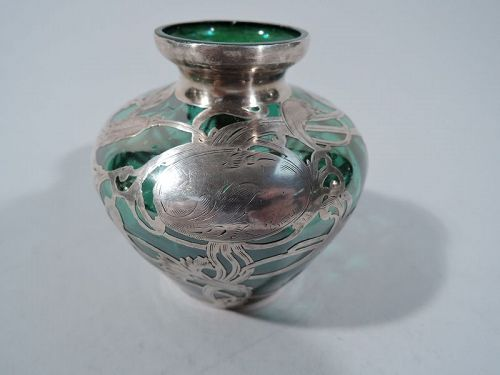La Pierre Art Nouveau Green Glass Vase with Silver Overlay