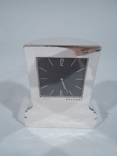 Bulgari Sterling Silver Classical Column Desk Clock