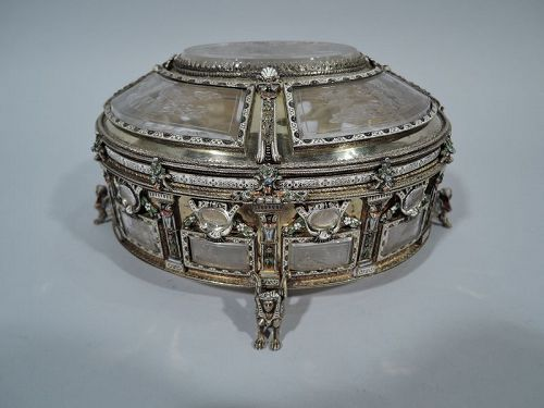 Antique Viennese Silver Gilt & Rock Crystal Casket with Etched Symbols